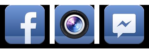 ícone do facebook com câmera e mensagens