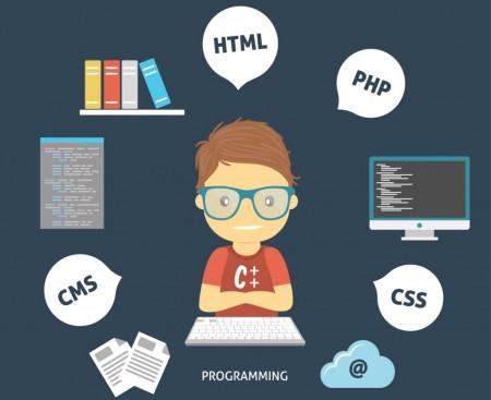 programador desenhado com linguagens de programação