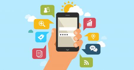 smartphone desenhado com apps e sol