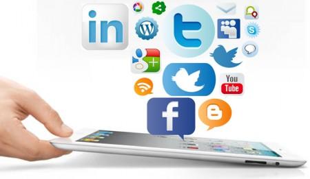 logotipos de aplicativos saindo de um tablet