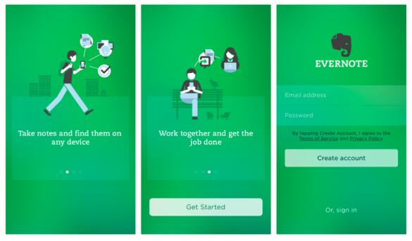 captura de tela do aplicativo Evernote