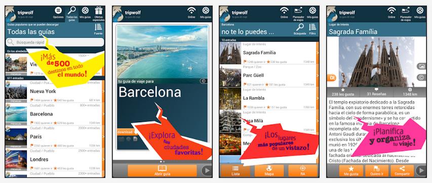 capturas de tela de aplicativos de turismo