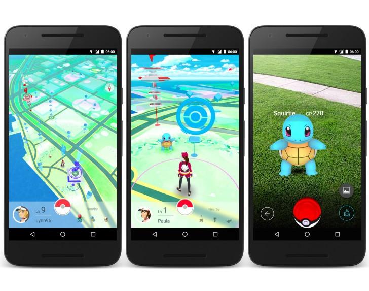 três smartphones com jogo Pokemon
