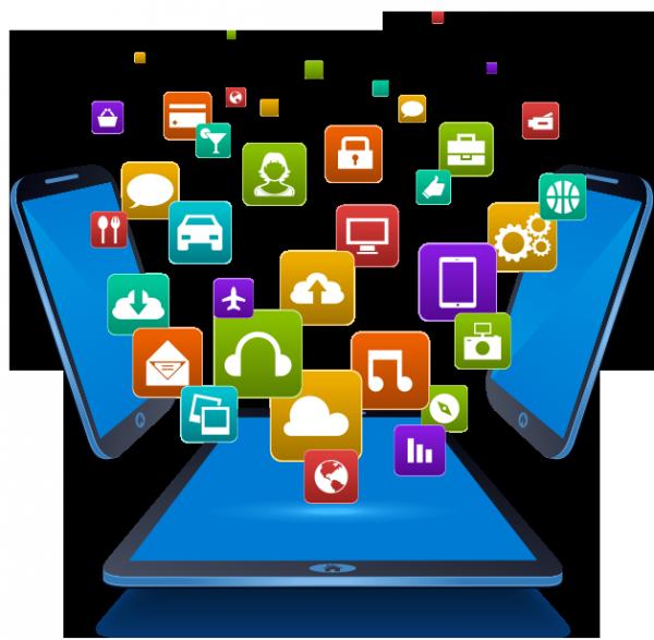 dispositivos eletrônicos e logotipos de aplicativos