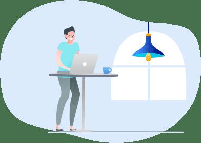 ilustração do homem no trabalho