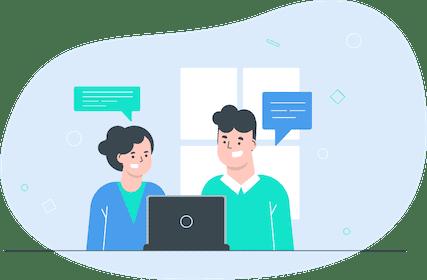 ilustração de homem e mulher em videoconferência
